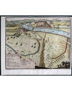 """Az ostromlott Esztergom, 1664. Látképmetszet Gualdo Priorato """"Historia di Leopoldo Cesare […]"""" című munkájából (1670)"""
