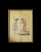 Vígan tántzoló Magyarok. Tanzende Ungarn. Kézzel színezett rézmetszet. Bikkessy Heinbucher József (1767–1833) festő rajza után metszette Karl Beyer. Készült 1816-ban. - Bikkessy Heinbucher József, Karl Beyer