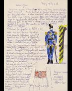 Borsos Miklós (1906–1990) szobrász, grafikus saját kézzel írt, saját akvarell rajzaival díszített, egy oldal terjedelmű levele és saját kézzel írt, 7 sor terjedelmű bibliográfiai cédulája Belia György (1923–1982) szerkesztő, lektornak. - Borsos Miklós