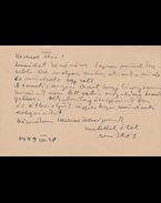 Borsos Miklós (1906–1990) szobrász saját kézzel írt levelezőlapja Medgyessy Ferenc (1881–1958) szobrászművésznek - Borsos Miklós