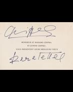 Cziffra György (1921–1994) zongoravirtuóz saját kezű újévi üdvözlete nyomtatott üdvözlőkártyáján (1986) - Cziffra György
