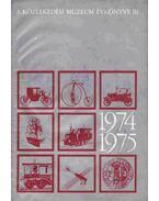 A Közlekedési Múzeum Évkönyve III. 1974-1975 - Dr. Czére Béla (szerk.)