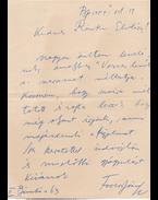 Fodor József (1898–1973) költő, műfordító saját kézzel írt és aláírt levele Ránki (született Rottmann) Andor nyomdásznak, valamint a költő egy Ránki Andorhoz címzett versének folyóiratkivágása. - Fodor József