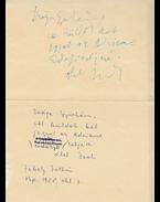 Jékely Zoltán (1913–1982) költő saját kezű meghívója Belia György szerkesztőnek - Jékely Zoltán
