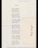 """Kerényi Grácia (1925–1985) költő, műfordító """"Október"""" című, publikálatlan költeményének egy gépelt oldal terjedelmű verskézirata, a szöveg felett a költő saját kezű írásával. - Kerényi Grácia"""