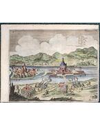 """Az ostromlott Tokaj. Látképmetszet Gualdo Priorato """"Historia di Leopoldo Cesare […]"""" című munkájából (1670)"""