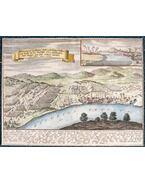 Vác látképe a váci csata alkalmából, felső sarkában Pest és Buda szintén 1684. évi ostromlátképével (1691)