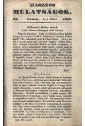Hasznos mulatságok 1837/33. szám - Régikönyvek