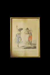 Vígan tántzoló Magyarok. Tanzende Ungarn. Kézzel színezett rézmetszet. Bikkessy Heinbucher József (1767–1833) festő rajza után metszette Karl Beyer. Készült 1816-ban. - Bikkessy Heinbucher József, Karl Beyer - Régikönyvek