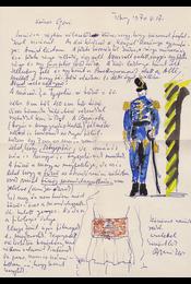 Borsos Miklós (1906–1990) szobrász, grafikus saját kézzel írt, saját akvarell rajzaival díszített, egy oldal terjedelmű levele és saját kézzel írt, 7 sor terjedelmű bibliográfiai cédulája Belia György (1923–1982) szerkesztő, lektornak. - Borsos Miklós - Régikönyvek