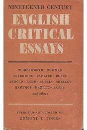 English Critical Essays - Edmund D. Jones - Régikönyvek