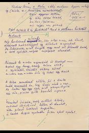 """Gáldi László (1910–1974) nyelvész, műfordító Lucian Blaga (1895–1961) román költő """"Andante"""" című műfordításának saját kézzel írott, két oldal terjedelmű, saját kézzel javított eredeti kézirata. - Gáldi László - Régikönyvek"""