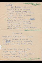 """Gáldi László (1910–1974) nyelvész, műfordító Lucian Blaga (1895–1961) román költő """"Égő hegedűk – asszonyok"""", """"Évszakok"""", """"Még egyszer!"""" című műfordításainak saját kézzel írott, két oldal terjedelmű, saját kezű javításokkal tarkított eredeti kézirata. - Gáldi László - Régikönyvek"""