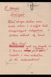 """Gáldi László (1910–1974) nyelvész, műfordító Lucian Blaga (1895–1961) román költő """"Sóvárgás"""" című költeményéről készített műfordításának saját kézzel írott, két oldal terjedelmű, saját kézzel javított eredeti kézirata. - Gáldi László - Régikönyvek"""