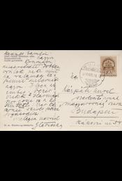 Glatz Oszkár (1872–1958) festőművész saját kézzel írt képeslapja Kárpáti Aurél (1884–1963) szerkesztő, író, kritikusnak. - Glatz Oszkár - Régikönyvek