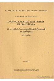 Iparvállalatok szervezése és irányítása II. A vállalatban megvalósuló folyamatok és szervezetük ( példatár) - Káldor Mihály- Dr. Márton Ferenc - Régikönyvek