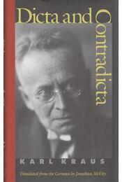 Dicta and Contradicta - Karl Kraus - Régikönyvek