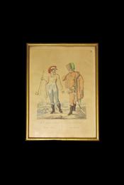 Két falún-lakozó Nemes ember. Zwei Edelleute vom Lande. Kézzel színezett rézmetszet. Bikkessy Heinbucher József (1767–1833) festő rajza után metszette Blaschke és Ponheimer. Készült 1816-ban. - Bikkessy Heinbucher József, Karl Beyer - Régikönyvek