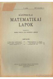 Középiskolai Matematikai Lapok 1947. december 3. szám - Surányi János, Soós Paula - Régikönyvek
