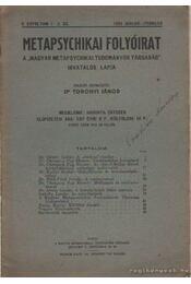 Metapsychikai Folyóirat 1933. januát-február 1-2. szám - Toronyi János dr. - Régikönyvek