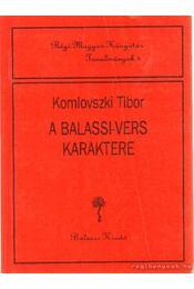 A Balassi-vers karaktere - Komlovszki Tibor - Régikönyvek