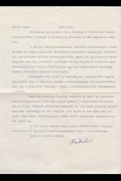 Rába György (1924–2011) költő, író, Babits-kutató egy gépelt oldal terjedelmű köszönőlevele Belia Györgyné Sándor Anna tanárnőnek, a levél végén Rába György saját kezű aláírásával. - Rába György - Régikönyvek
