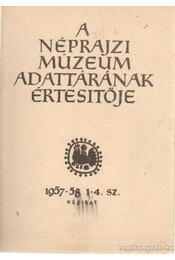 A Néprajzi Múzeum adattárának értesitője 1957-58 1-4. sz - Szendrey Ákos, Dumanovszky György - Régikönyvek