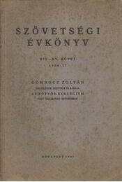 Szövetségi Évkönyv XIV-XV. (1936-37.) - Régikönyvek