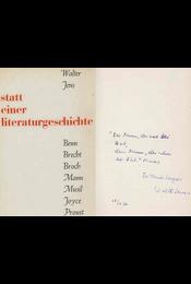 Statt einer Literaturgeschichte (dedikált) - Walter Jens - Régikönyvek